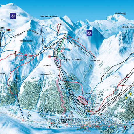 Val D Isere Map Val d'Isère piste map   Tignes and Val d'Isère ski map