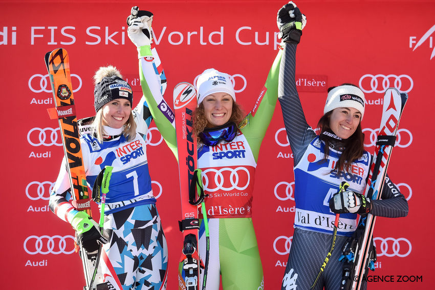 VAL D'ISERE, FRANCE - DECEMBER 17: Cornelia Huetter of Austria takes 2nd place, Ilka Stuhec of Slovenia takes 1st place, Sofia Goggia of Italy takes 3rd place during the Audi FIS Alpine Ski World Cup Women's Downhill on December 17, 2016 in Val d'Isere, France (Photo by Michel Cottin/Agence Zoom)