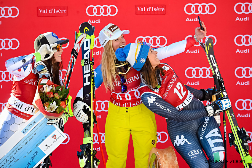 VAL D'ISERE, FRANCE - DECEMBER 18: Lara Gut of Switzerland takes 1st place, Tina Weirather of Liechtenstein takes 2nd place, Elena Curtoni of Italy takes 3rd place during the Audi FIS Alpine Ski World Cup Women's Super-G on December 18, 2016 in Val d'Isere, France (Photo by Michel Cottin/Agence Zoom)